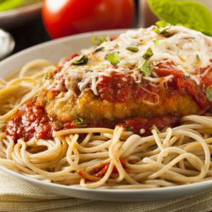 Served over spaghetti